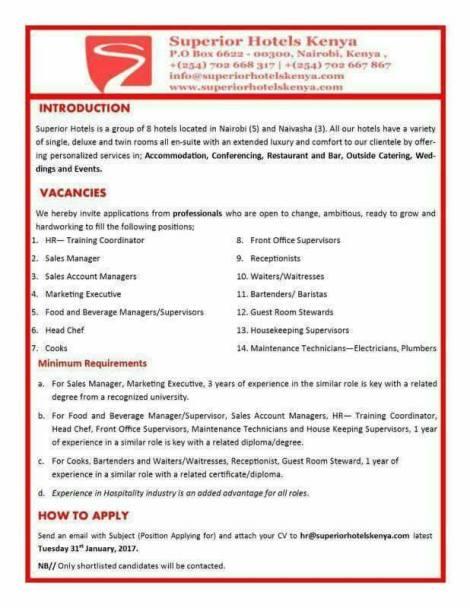 Vacancies At Superior Hotels All Jobs In Kenya And Beyond