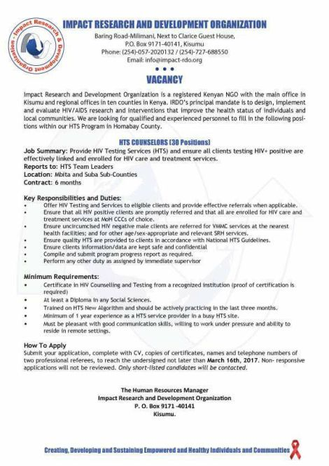 hts counselors all jobs in kenya and beyond