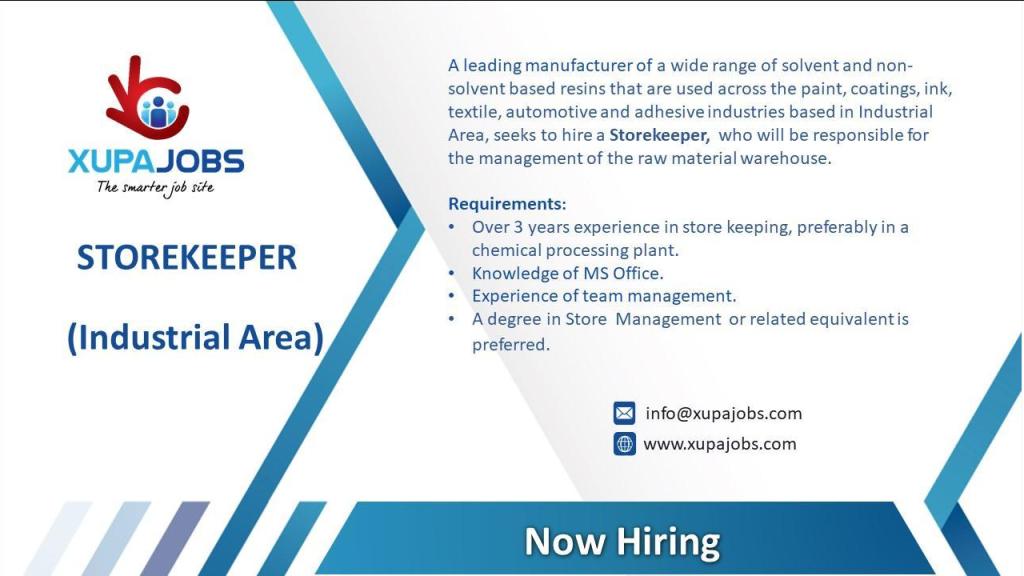 Stores job in Kenya's industrial area.