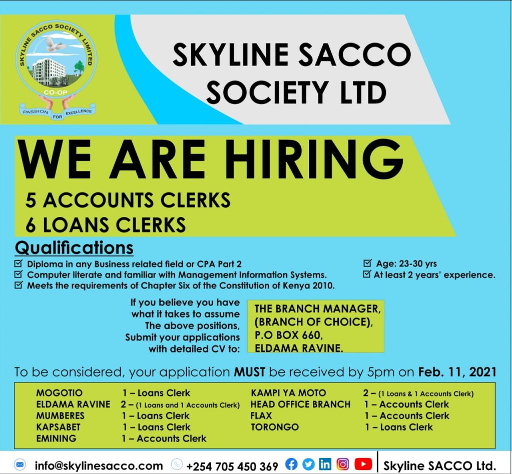 Skyline Sacco, Accounts Clerk Jobs.