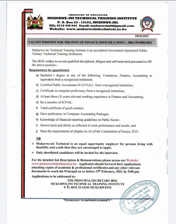 Mukurweini Technical Training Institute, Finance Officer Job (1 Post).